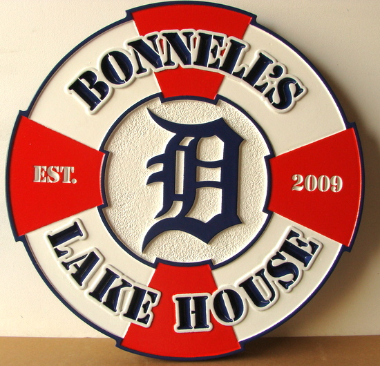 "M22439 - Carved HDU Lake House Sign in Shape of Life Ring, ""Bonnell's Lake House"""