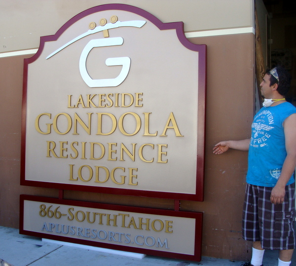 T29013 - Multi-layer HDU Entrance Sign for Lakeside Gondola Residence Lodge