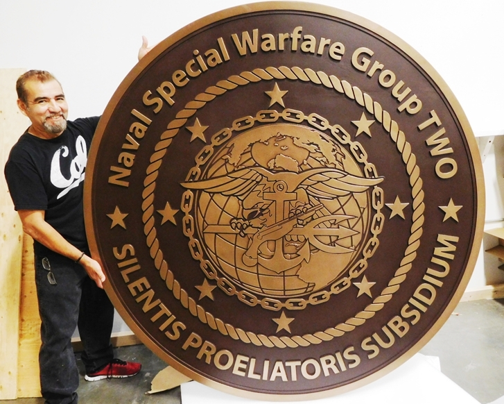 JP-1782 - Carved Seal/Crest of Naval Special Warfare Group 2, Engraved Bronze-Plated