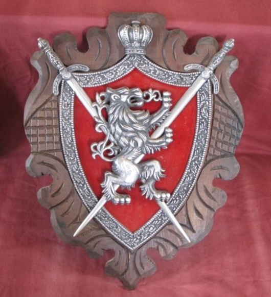 XP-2020 - Carved Shield Wall Plaque of Family Coat-of-Arms with Crown, Rampant Lion, and Shield on Wood Shield  German Silver Plated with Mahogany Wood