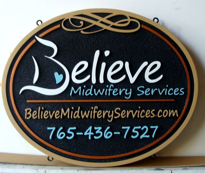 B11233 - Sandblasted HDU Sign for Midwifery Services with Website Address and Telephone Number