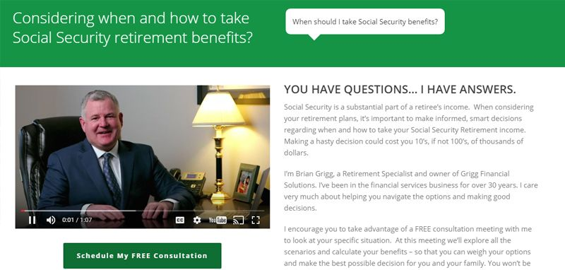 Grigg Financial Solutions: Landing Page