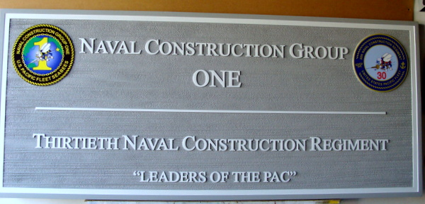 JP-2340- Carved Plaque of Seabees Naval Construction Group One, Giclee Prints on Cedar Wood