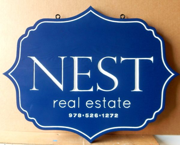C12318 -  Carved HDU Hanging Real Estate Sign