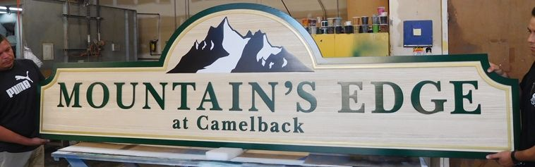 "K20215 - Carved HDU Sign,  for  ""The Mountain's Edge"" Residential Community, with Wood Grain Sandblasted Background"