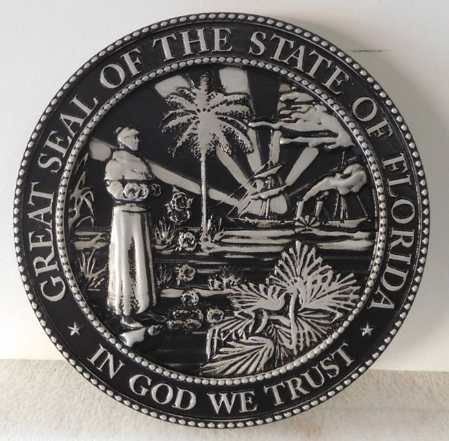 M7465 - Metallic Silver and Black Painted  Carved 3D HDU plaque of the great Seal of the State of Florida.