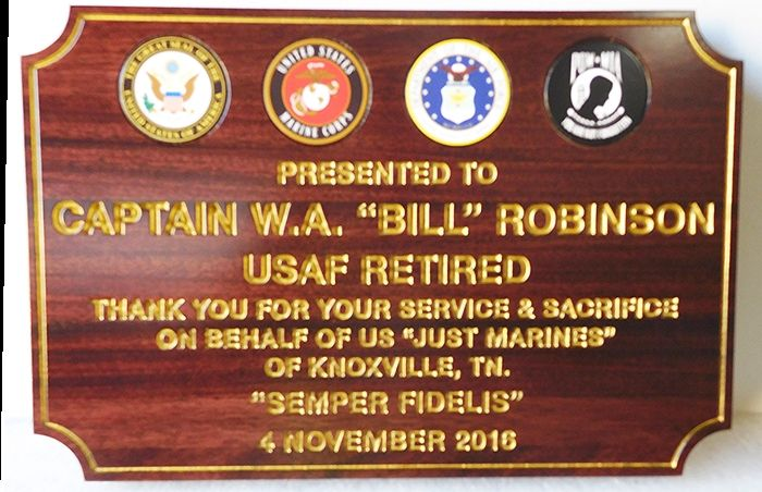 V31673 - Engraved Mahogany Retirement Plaque, with Service Seals and 24K Gold-Lead Text