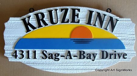 "T29147 - Carved and Sandblasted Wood Grain HDU  Hanging ""Kruze Inn"". Sign,  with Sunset over Sea as Artwork"