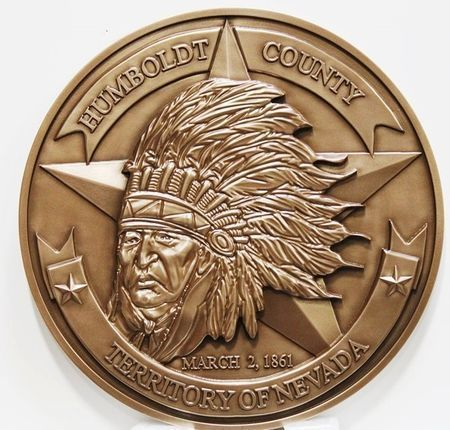 CP-1256 - Carved Plaque of the The Seal of the Humboldt County, Nevada, 3-D Bronze-Plated