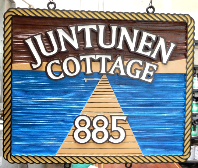 M22440 - Cottage Address Sign with Dock, Water and Rope Border as Artwork