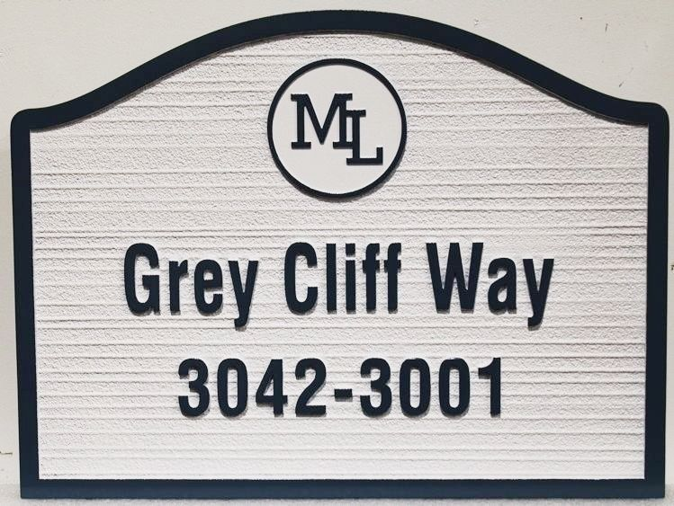 """KA20897 - Carved and Sandblasted Wood Grain HDU """"Grey Cliff Way"""" Street Name and Address Number Sign"""