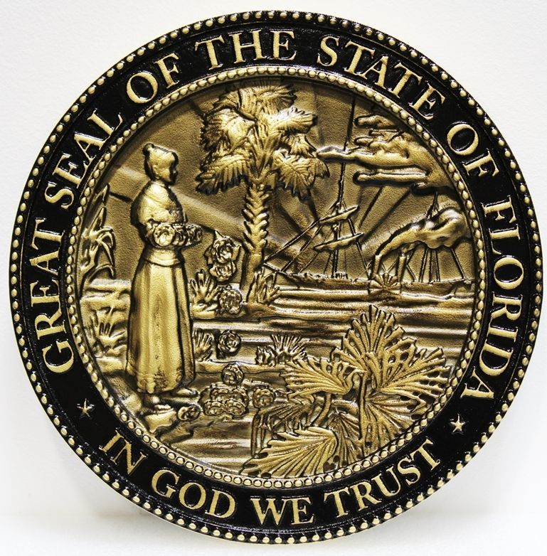 BP-1137 - Carved 3-D Bronze-Plated HDU Plaque of the Seal of the State of Florida