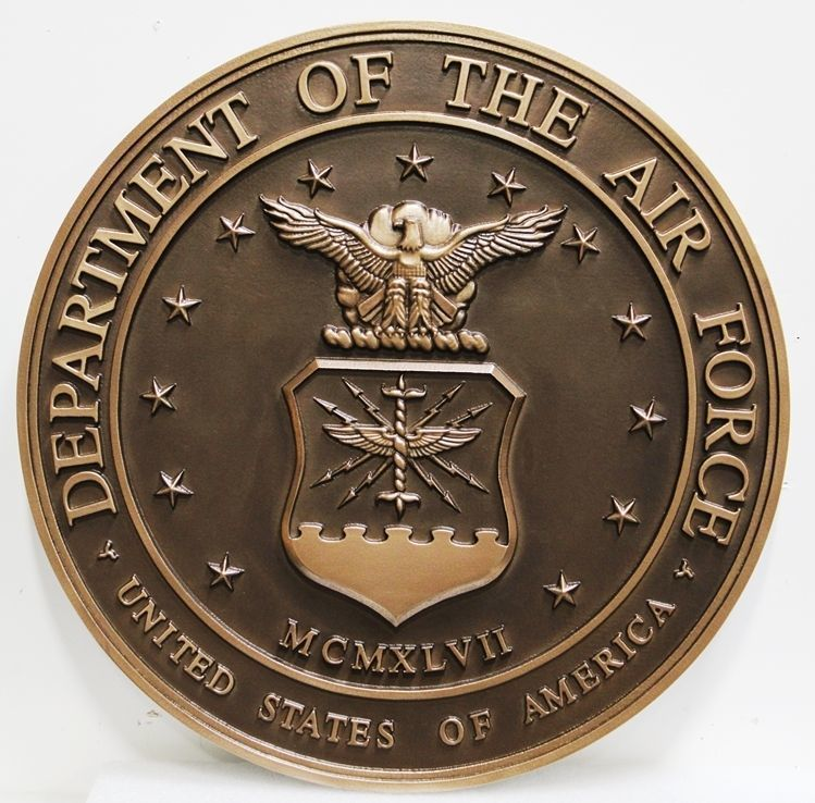 V31503 - Carved  3-D Bronze-plated HDU  Plaque of the Seal of the US Air Force