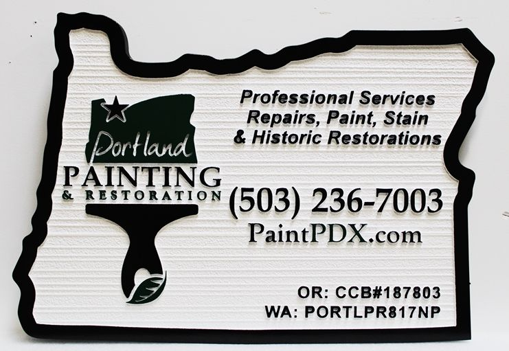 S28177 - Carved and Sandblasted Wood Grain HDU Sign sign made for the Portland Painting & Restoration Company, with Paintbrush Logo as Artwork