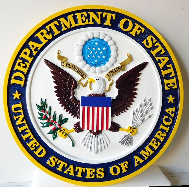 U30174B -  Carved 3-D Hand-painted Wall Plaque of Great Seal of the US State Department