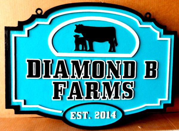 O24120 - Farm Sign with Silhouette of Cow and Calf