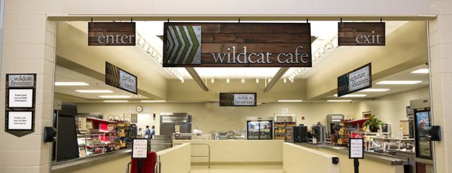 Cafeteria signs with a wood and metal look, custom signs, menu boards