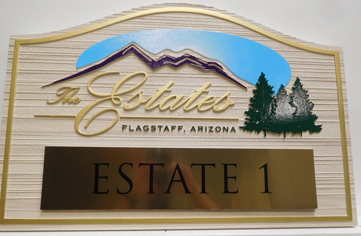 "K20103 - Carve 2.5D and Sandblasted  Property Sign for ""The Estates"". with Mountain and Tree Artwork and an Engraved Brass Plate"