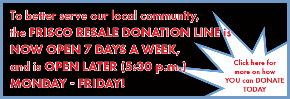 Frisco Resale New Donation Hours
