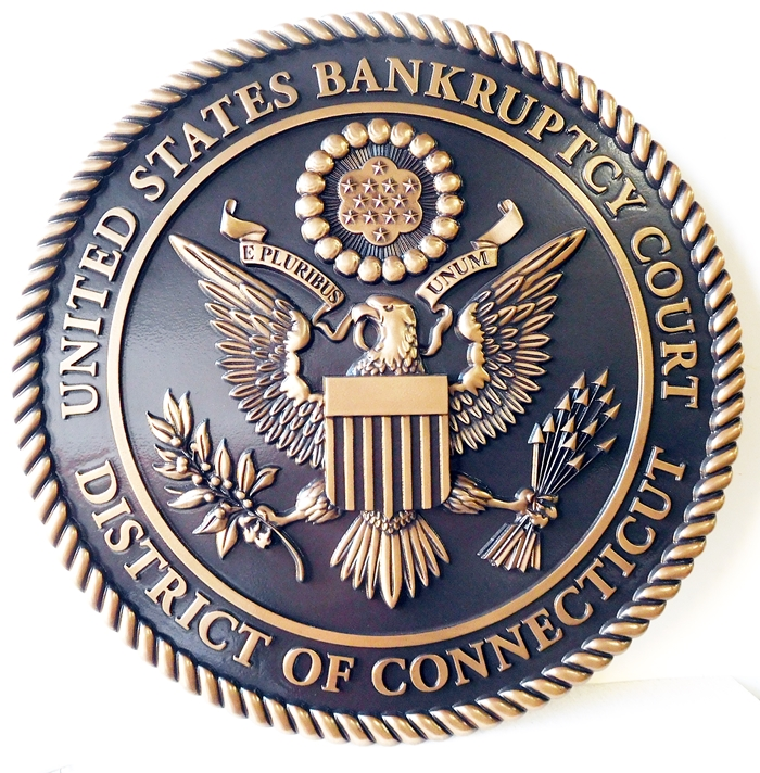 A10841 - 3-D Polished Brass Wall Plaque for the District of Connecticut United States Bankruptsy Court