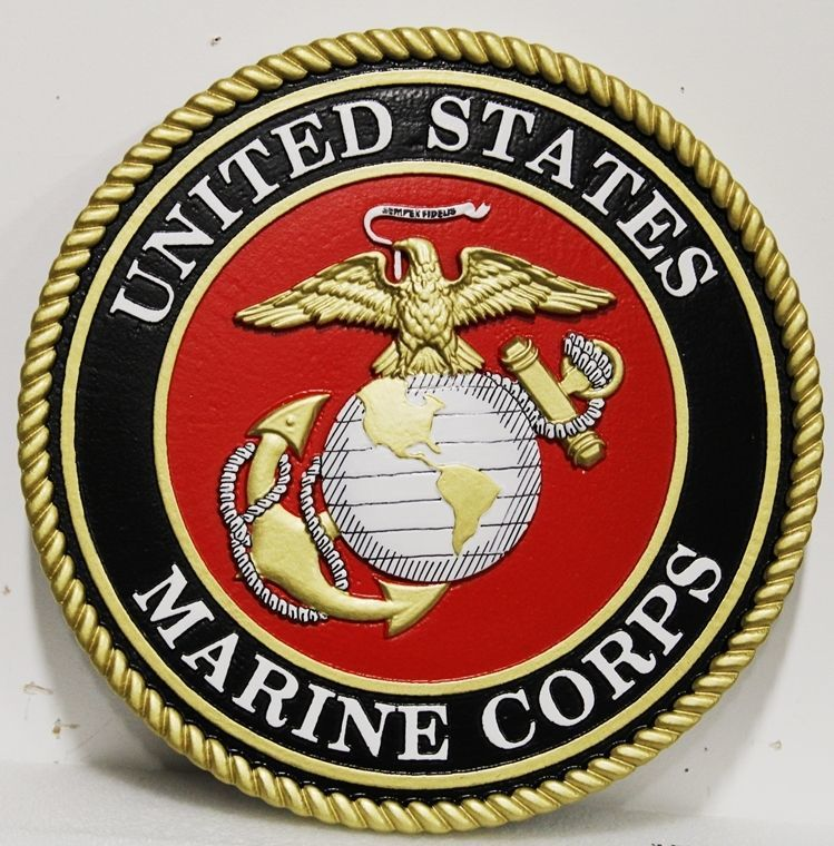 KP-1062 - Carved 3-D HDU Plaque of theEmblem of the United StatesMarine Corps