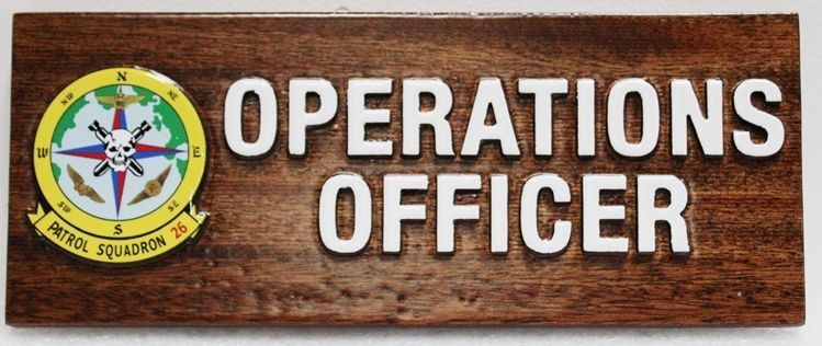 LP-4045 - Carved Nameplate Plaque for the Operations Officer of Patrol Squadron 26