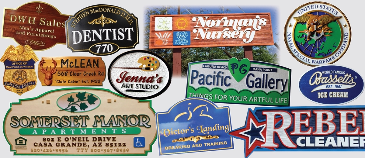 We sell carved and sandblasted signs & plaques at Low