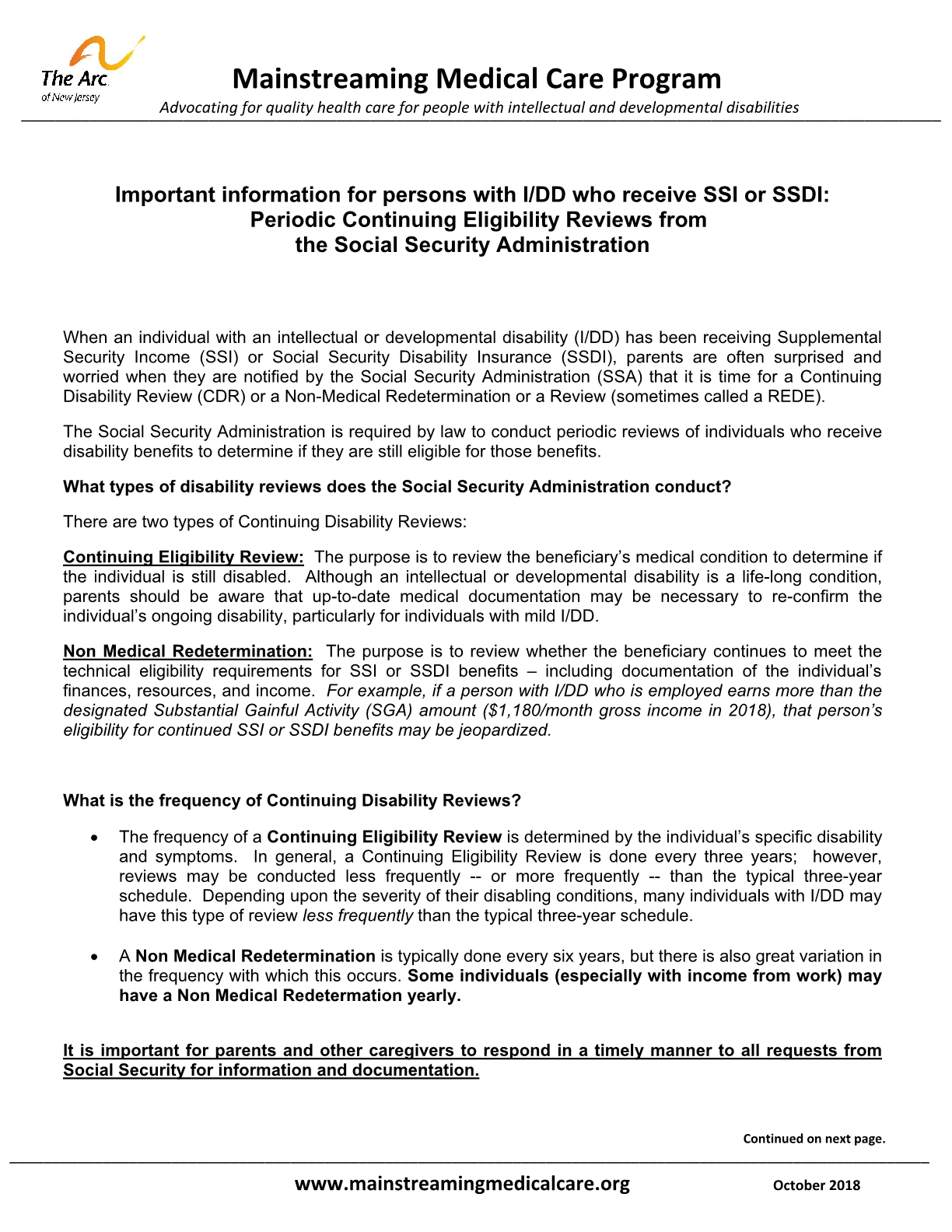Periodic Continuing Eligibility Reviews from the Social Security Administration: Important information for persons with I/DD who receive SSI or SSDI