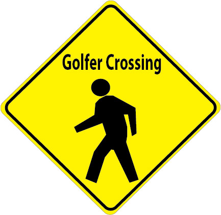 E14551 - Golfer Crossing Sign