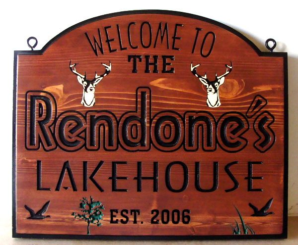 M22410 - Engraved Cedar Lakehouse Sign