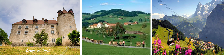 Gruyeres Castle and Landscape in Switzerland