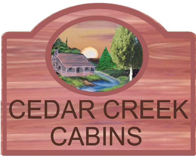 "M22100 - Design of a Eastern Cedar Sign for ""Cedar Creek Cabins"" with Cabin, Trees, Mountain Stream and Sun"