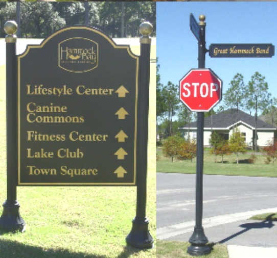 M4302 -  Examples of Double and Single Configurations for Aluminum Signposts, Round Post with Americana Base and Ball Finials