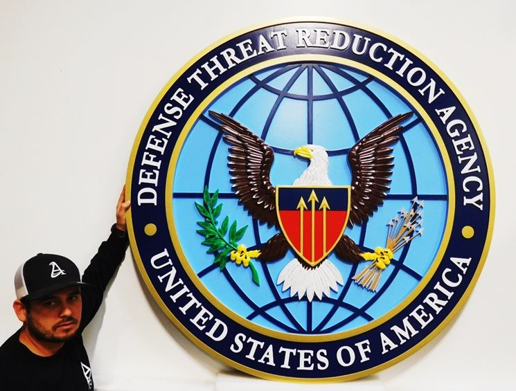 IP-1703 - Carved Plaque of the Seal of the Defense ThreatReduction Agency, 3-D Artist-Painted