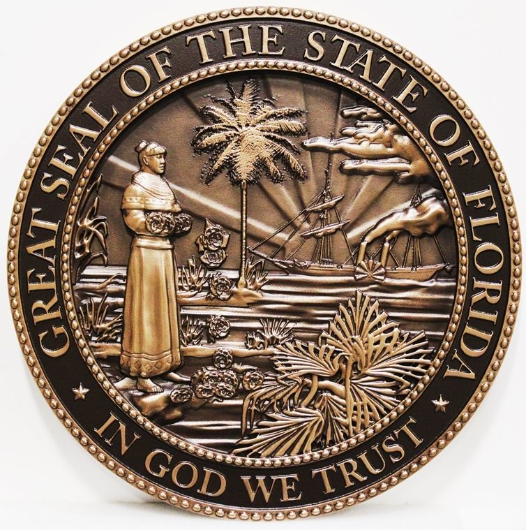 BP-1137 - Carv 3-D Bronze-Plated HDU Plaque of the Seal of the State of Florida