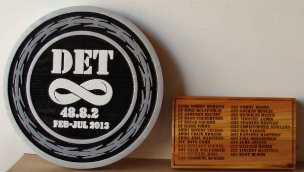 V31391A - Carved HDU Wall Plaque for DET, and Engraved Wood Plaque with Personnel Participating