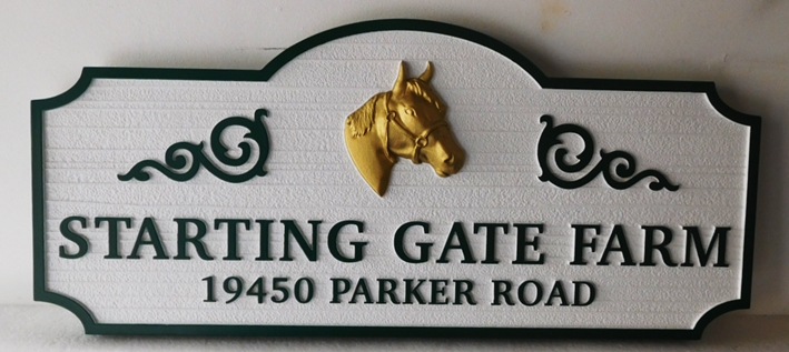 "P25237 - Elegant Entrance and Address Sign for the ""Starting Gate Farm' with a 3-D Carved Head of a Horse"