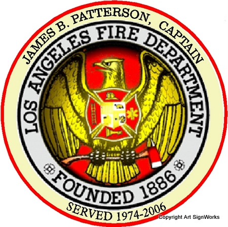 QP-3080 - Carved Personalized Wall Plaque of  Seal  of the City of Los Angeles  Fire Department, California,  Artist Painted