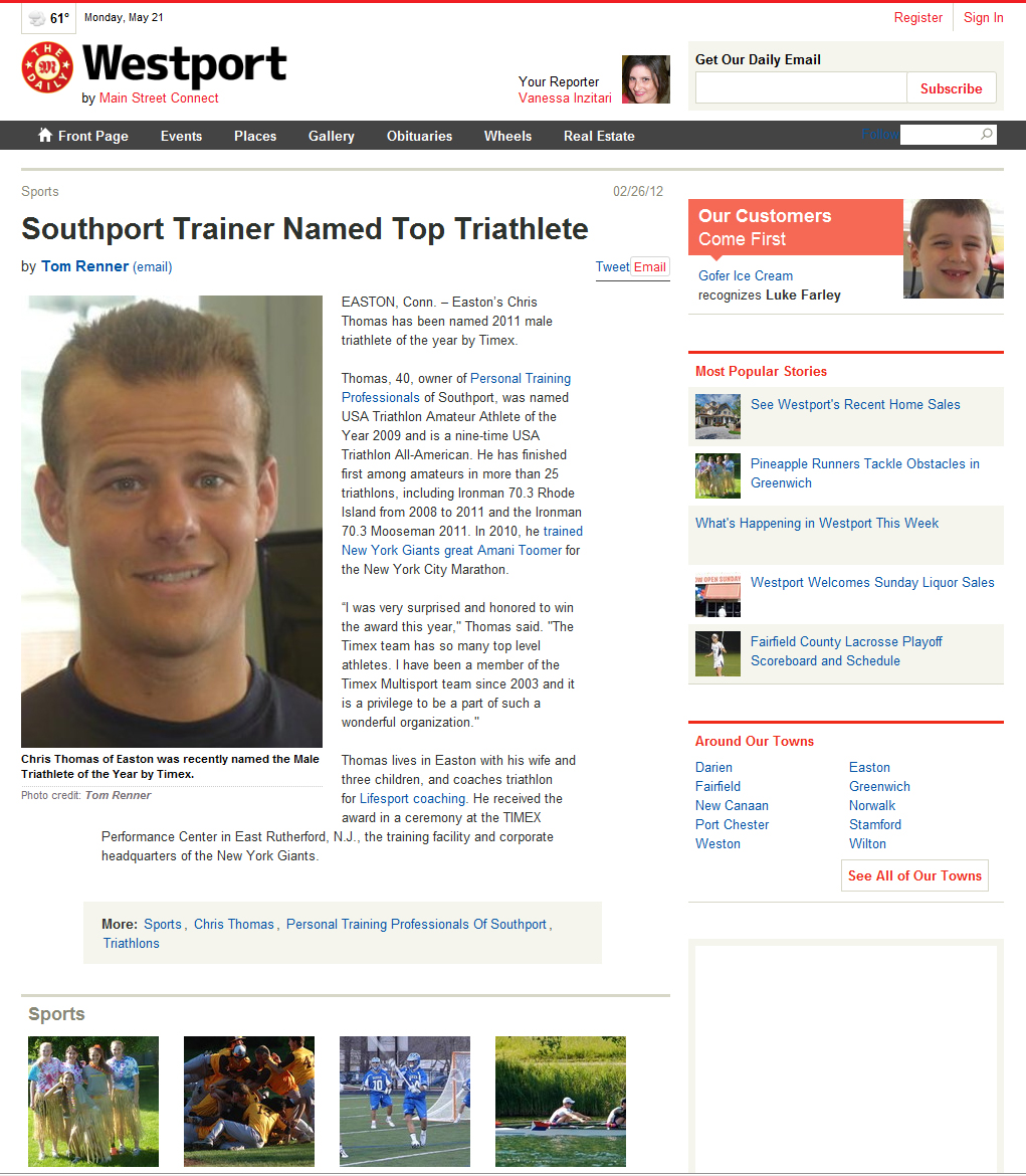 Southport Trainer Named Top Triathlete | The Daily Westport | February 26, 2012