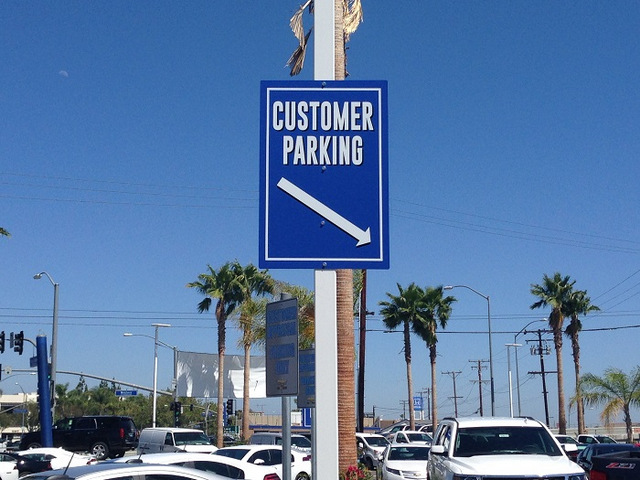 Auto dealership parking lot signs Orange County