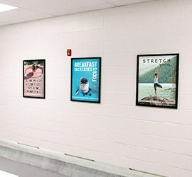 Healthy lifestyle posters, 3 school posters on a wall, custom signs, nutrition education