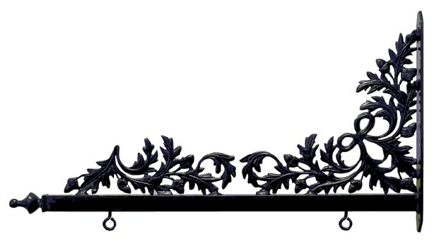 E14822 - Decorative Wrought Iron Scroll Bracket (Oak Leaves) for Hanging Golf Course Signs