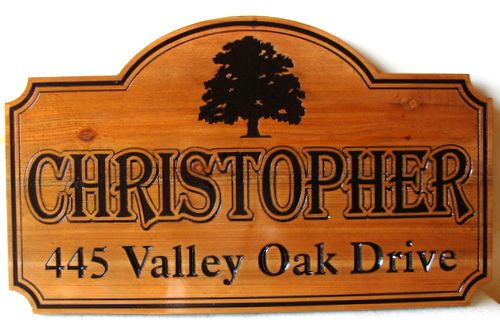 M22110 - Carved Cedar Wood Property Address Sign