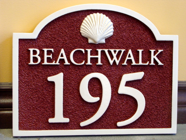 L21137 - Beach House Number Address Sign with Carved Sea Shell