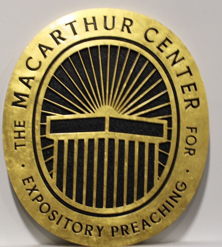 D13020 - Carved 2.5-D HDU  Sign for the MacArthur Center for Expository Preaching, with Border and Artwork Gilded with 24K Gold Leaf