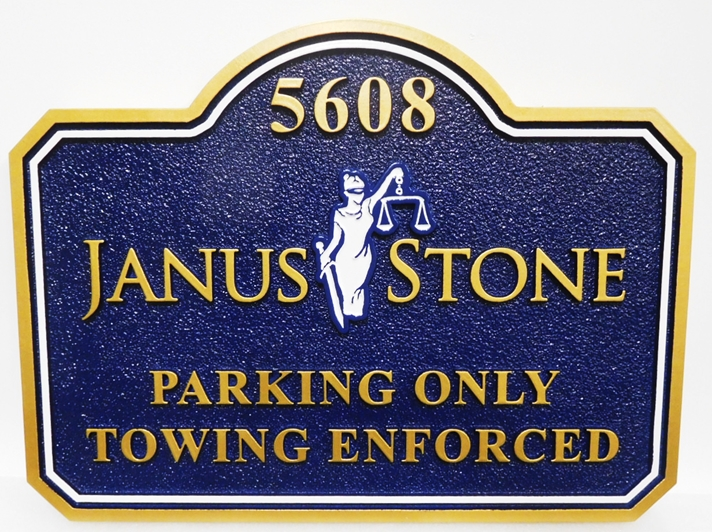 A10499 - Carved and Sandblasted 2.5-D  Address and Parking Sign for the Janis Stone Law Office