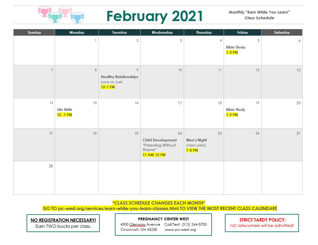 February 2021 EWYL Class Schedule