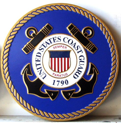 NP-1110 - Carved Plaque of the Great Seal of the US Coast Guard, 2.5-D Artist Painted