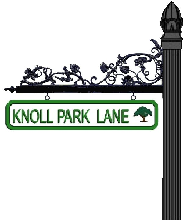 H17008 - Example Street Sign with Post and Decorative Scroll Bracket