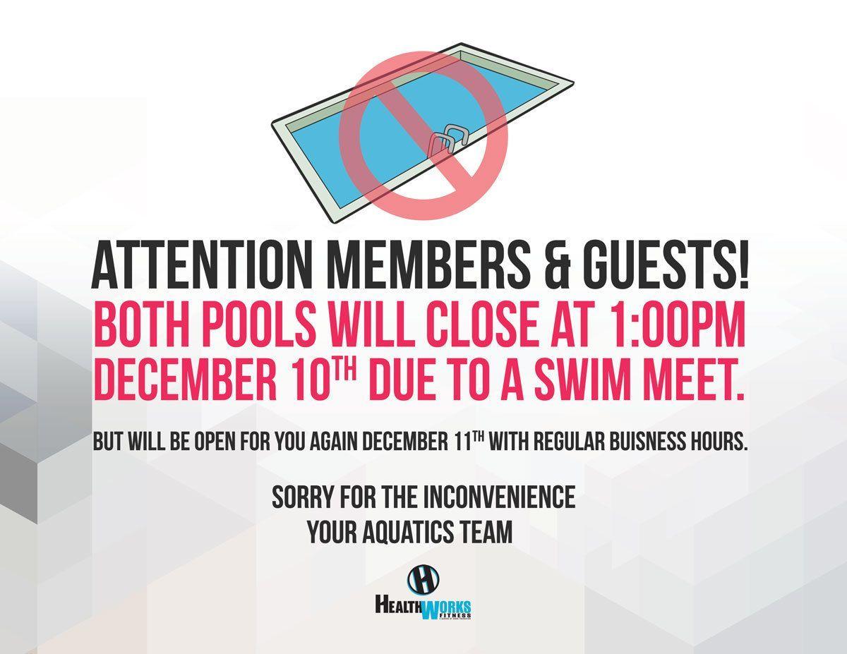 Pool Closing at 1:00pm